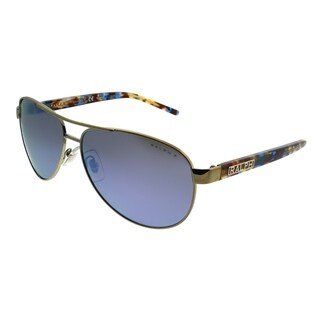 Ralph by Ralph Lauren Aviator RA 4004 911622 Unisex Light Gold Frame Blue Mirror Polarized Lens Sunglasses