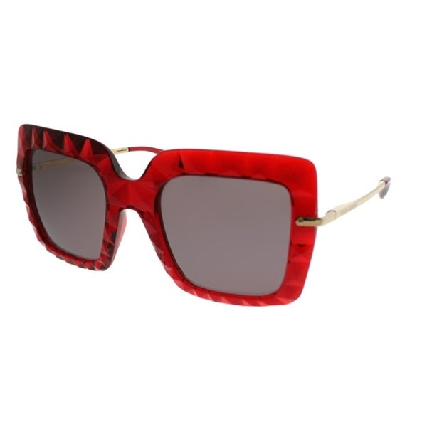 f52aa3565800 Dolce  amp  Gabbana Square DG 6111 31477N Women Transparent Bordeaux Frame  Brown Lens Sunglasses