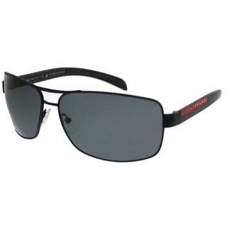 Prada Linea Rossa Aviator PS 54IS DG05Z1 Unisex Black Rubber Frame Grey Polarized Lens Sunglasses