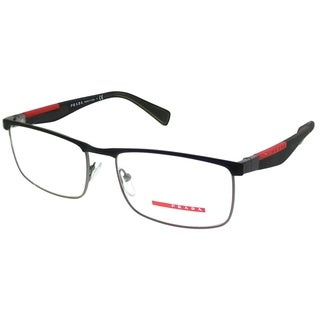 Prada Linea Rossa Rectangle PS 54FV QFP1O1 Unisex Black Steel Rubber Frame Eyeglasses