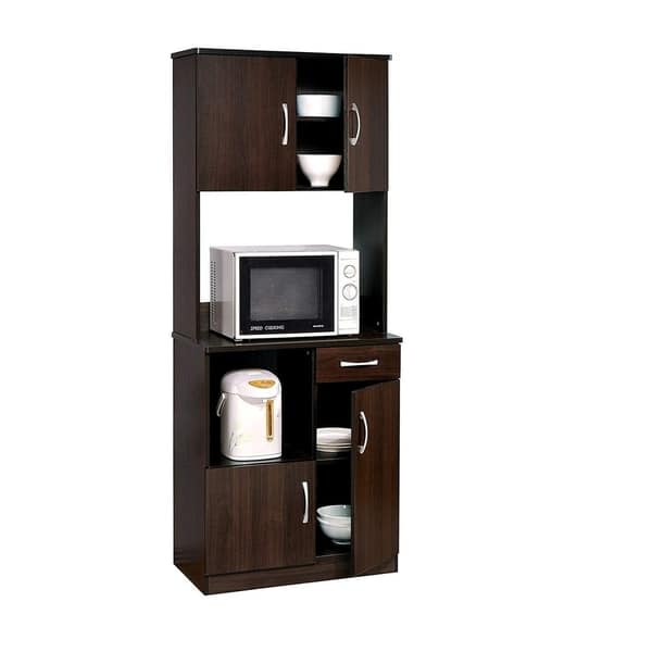 Shop Wooden Kitchen Cabinet with Open Shelves and Door ...
