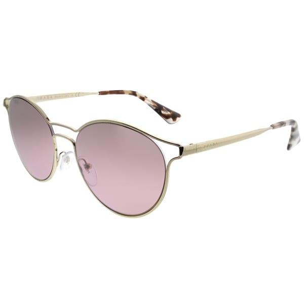 0a56a7bc6f978 Prada Round PR 62SS Cinema ZVN095 Women Pale Gold Frame Pink Mirror  Gradient Lens Sunglasses