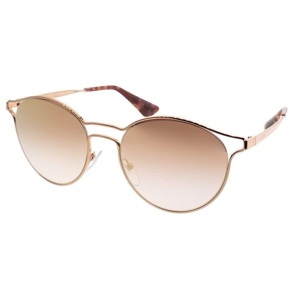 4308e378f834 Prada Round PR 62SS Cinema SVFAD2 Women Pink Gold Frame Pink Mirror Gradient  Lens Sunglasses