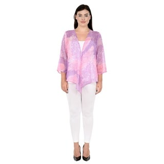 Qurvii Watercolor Front drape cardigan
