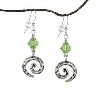 Handmade Jewelry by Dawn Peridot Green Crystal Bicone Pewter Swirl Earrings (USA)