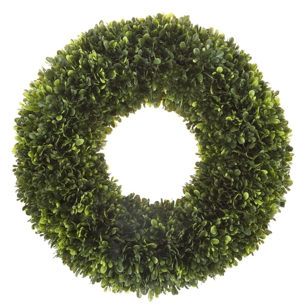Artificial Tea Leaf Wreath with Grapevine Base- UV Resistant Greenery Half Wreath with Slim Profile by Pure Garden