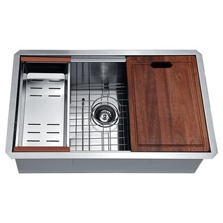 ANZZI Aegis Undermount 30 in. Single Bowl Kitchen Sink with Cutting Board and Colander - Silver