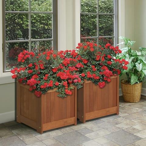 Furinno Tioman Hardwood Flower Box in Teak Oil, Pack of 2, 2-FG16450