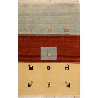 Gabbeh Sammie Ivory/Lt. Blue Wool Area Rug (4'1 x 5'8) - 4 ft. 1 in. x 5 ft. 8 in.
