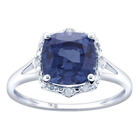 10K White Gold 3.31ct TW Tanzanite and Diamond Ring - Purple