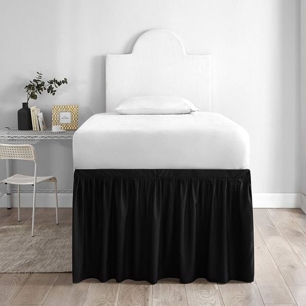 Shop Bed Skirt Twin Xl 3 Panel Set Black Free Shipping Today