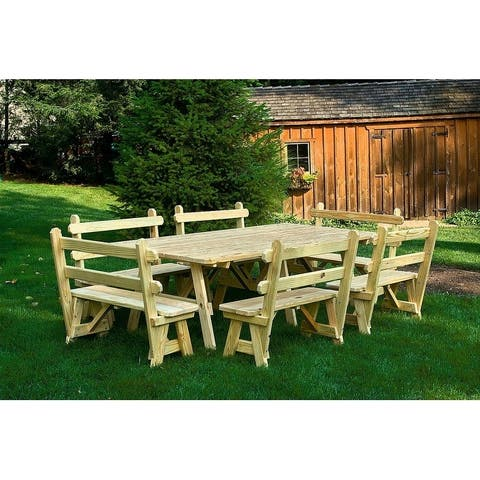 """Pressure Treated Pine 4' x 8' Picnic Table with 6 (42"""") Backed Benches"""