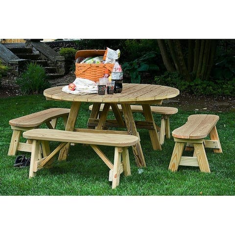 """Pressure Treated Pine 54"""" Round Picnic Table and 4 Curved Benches (42"""")"""