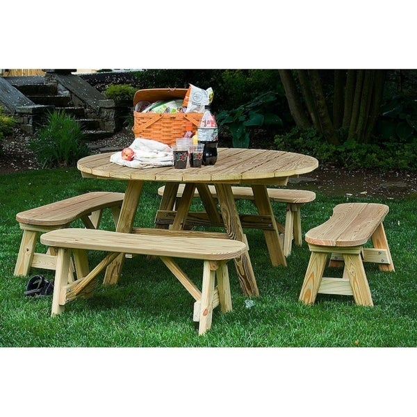Pressure Treated Pine Round Picnic Table And Curved Benches - Round picnic table with benches