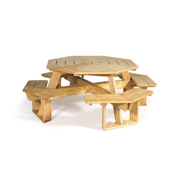 Pressure Treated Pine 5u0026#x27; Octagon Picnic Table