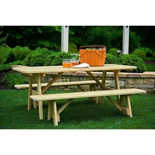 Pressure Treated Pine 3' x 6' Picnic Table with 2 Traditional Benches