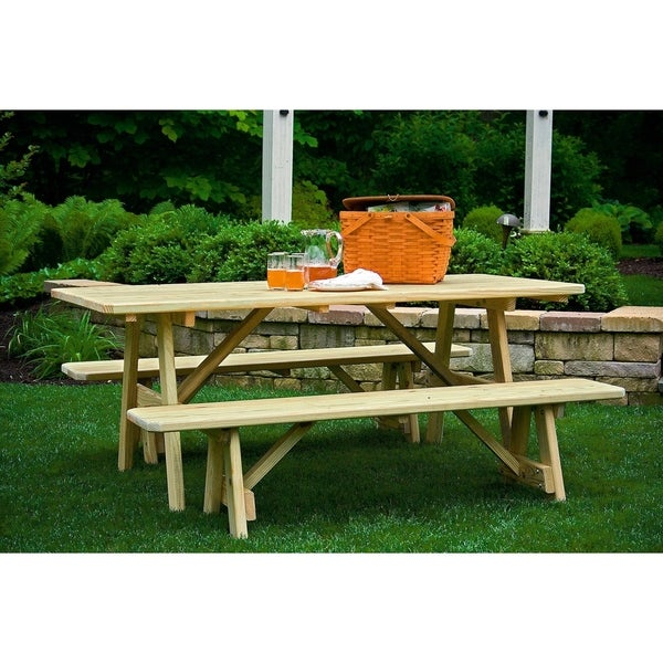 Outstanding Pressure Treated Pine 3 X 6 Picnic Table With 2 Traditional Benches Spiritservingveterans Wood Chair Design Ideas Spiritservingveteransorg