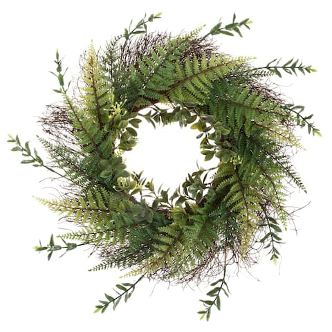Artificial Fern Wreath with Grapevine Base- UV Resistant Greenery Wreath with Blossoms, Slim Profile by Pure Garden (21 Inches)