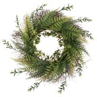 "Artificial Fern Wreath with Grapevine Base- UV Resistant Greenery Wreath with Blossoms, Slim Profile by Pure Garden (21"")"