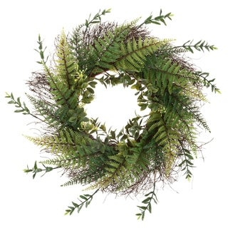 Artificial Fern Wreath with Grapevine Base- UV Resistant Greenery Wreath with Blossoms, Slim Profile by Pure Garden (21)