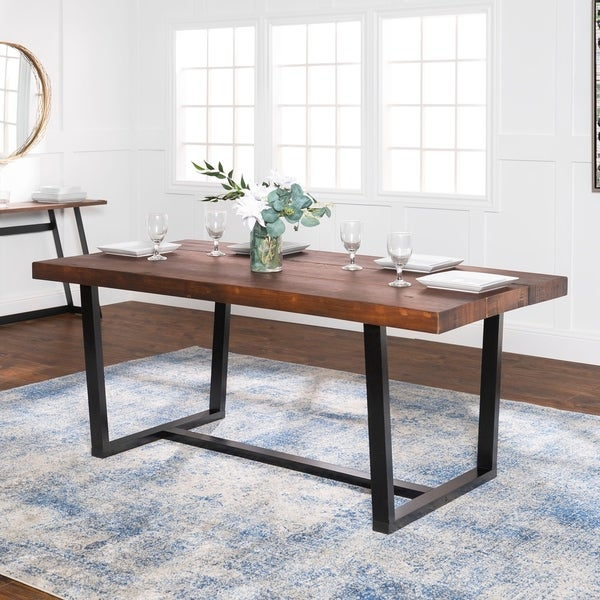 shop rustic farmhouse distressed solid wood dining table mahogany 72 inch free shipping. Black Bedroom Furniture Sets. Home Design Ideas