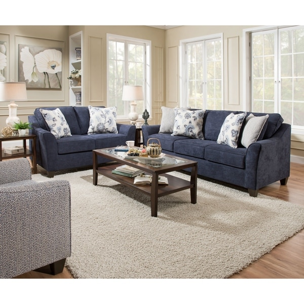 Simmons Upholstery Prelude Navy Sofa With Accent Pillow