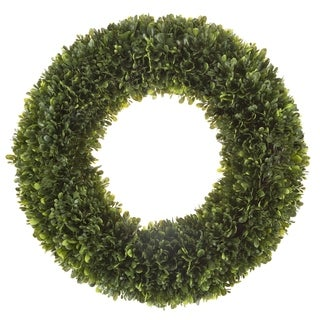 Artificial Tea Leaf Wreath with Grapevine Base- UV Resistant Greenery Half Wreath with Slim Profile by Pure Garden (19.5)