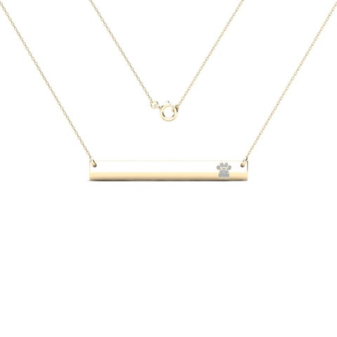 AALILLY 10k Yellow Gold Bar with Diamond Accent Paw Print Necklace (H-I, I1-I2)