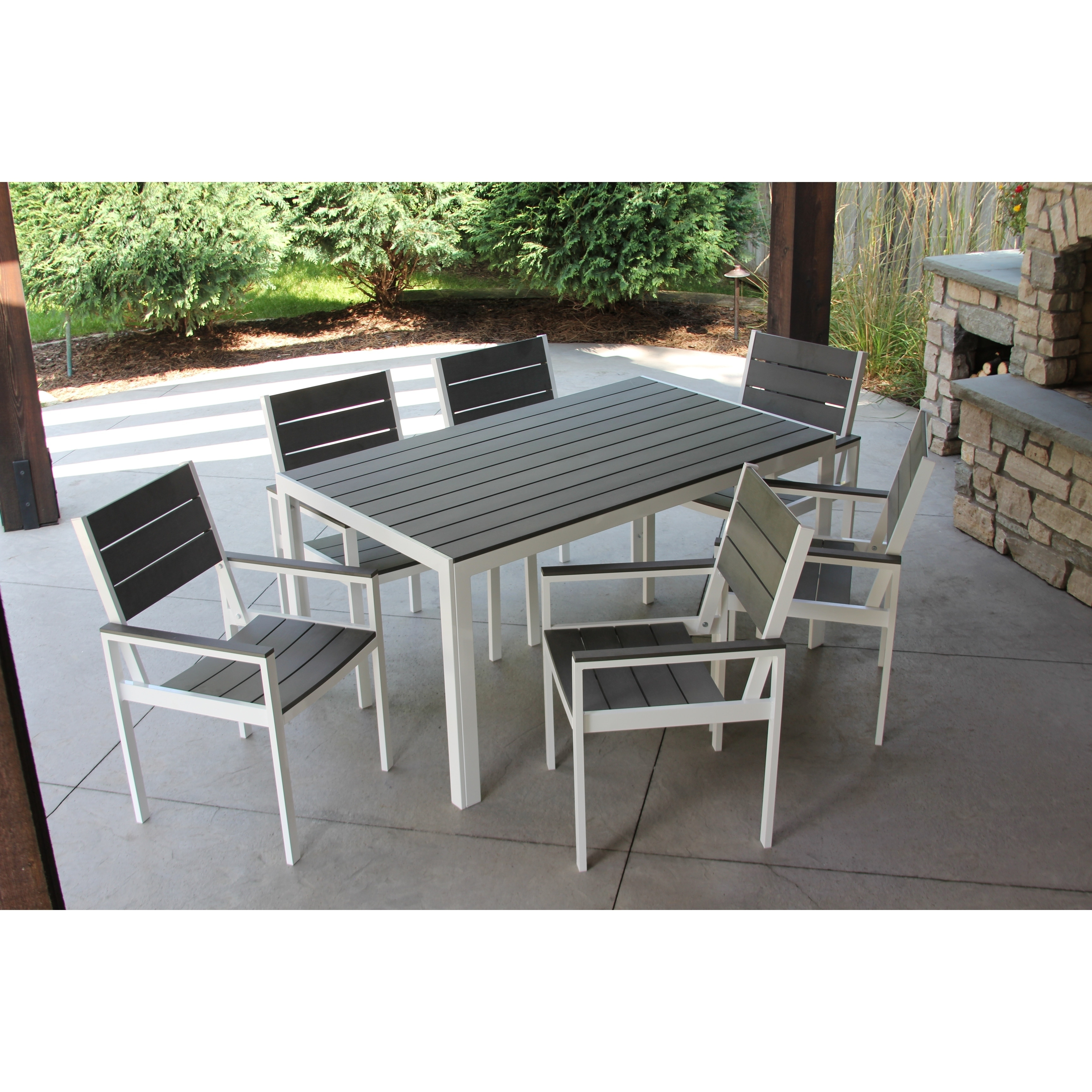 Winston 7pc White And Grey Aluminum Wood Outdoor Dining Set Overstock 21881108