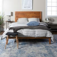 Transitional Plank Distressed Solid Pine Wood Queen Bed