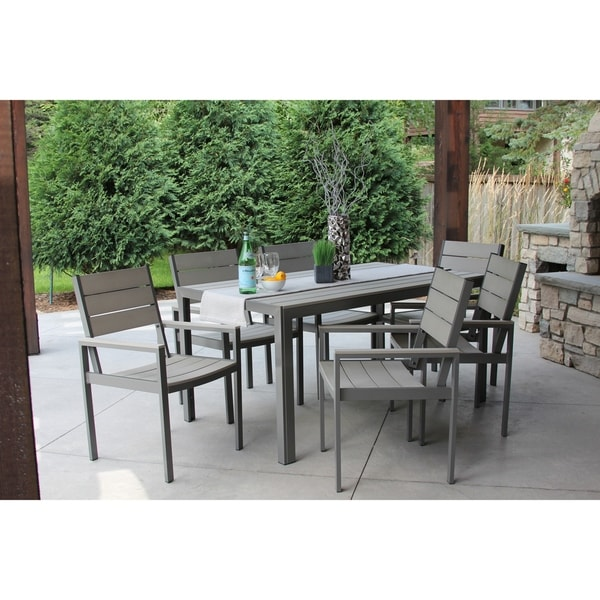 Winston 7pc Gray And Aluminum Dining Set Free Shipping Today 21881231