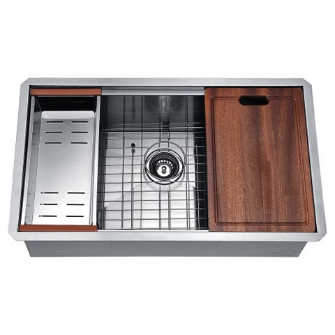 ANZZI Aegis Undermount 32.75 in. Single Bowl Kitchen Sink with Cutting Board and Colander