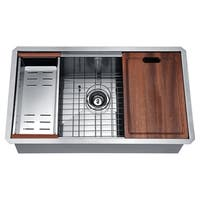 ANZZI Aegis Undermount 32.75 in. Single Bowl Kitchen Sink with Cutting Board and Colander - Silver