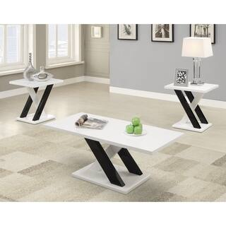 Contemporary White 3-piece Living Room Set - N/A