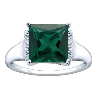 10K White Gold 2 07ct TW Emerald And Diamond Ring Green