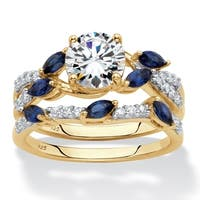 Gold over Sterling Silver Cubic Zirconia and Sapphire Bridal Ring Set - Blue/White