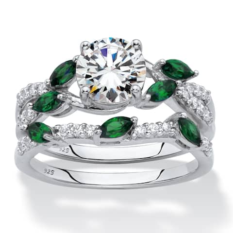 Platinum over Sterling Silver Cubic Zirconia and Emerald Bridal Set - Green/White