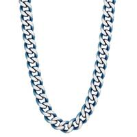 Stainless Steel Curb Chain Necklace with Blue Ip