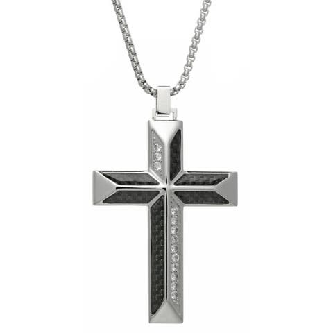 """Stainless Steel Cubic Zirconia Cross Pendant with Carbon Fiber and 24"""" Box Chain"""
