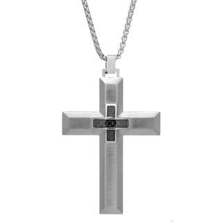"""Stainless Steel Cross Pendant with Carbon Fiber and 24"""" Box Chain"""
