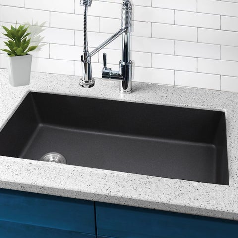Highpoint Collection 32-inch Single Bowl Granite Composite Sink with Side Set Drain