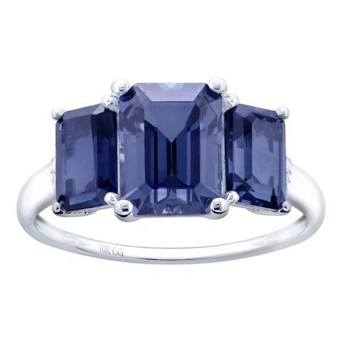 10K White Gold 4.23ct TW Tanzanite and Diamond Three-Stone Ring - Purple