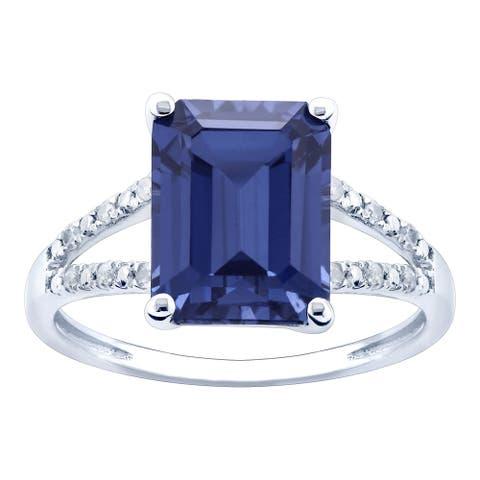 10K White Gold 3.49ct TW Tanzanite and Diamond Ring - Purple
