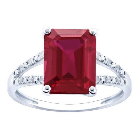 10K White Gold 3.12ct TW Ruby and Diamond Ring - Red