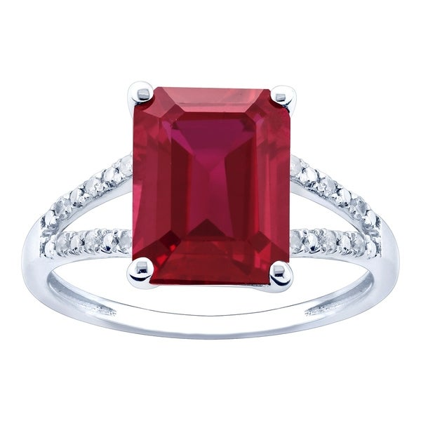 10K White Gold 3.12ct TW Ruby and Diamond Ring - Red. Opens flyout.