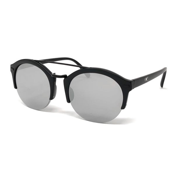 I\'M1 Mens Round Semi-Rimless Black Sunglasses in Silver Mirror Lens ...