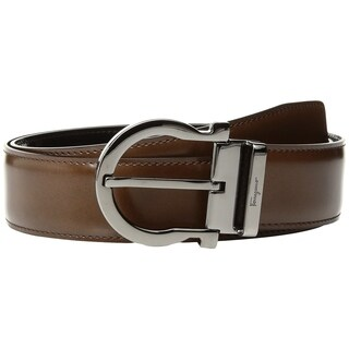 Ferragamo Men's Single Gancini Basic Leather Belt