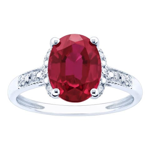 10K White Gold 2.17ct TW Ruby and Diamond Ring - Red