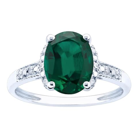 10K White Gold 1.79ct TW Emerald and Diamond Ring - Green