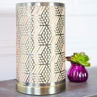 River of Goods Goldtone Metal and Fabric 11-inch Dimensional Laser-cut Geometric Uplight Accent Lamp (As Is Item)